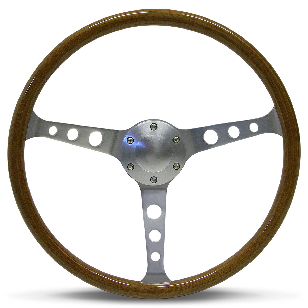 "Steering Wheel Wood 15"" ADR Classic Brushed With Holes"