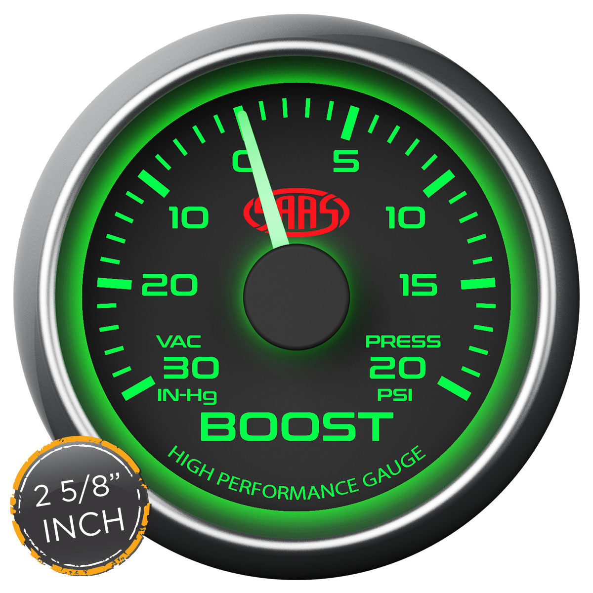 Boost Gauge 30inHg-20psi 2 5/8 inch Black Muscle Series