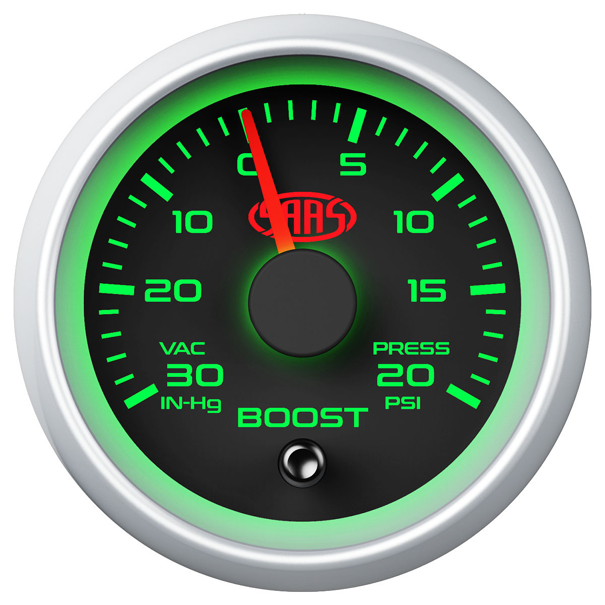 Boost Gauge 30inHg-20psi 52mm Black Muscle Series 2