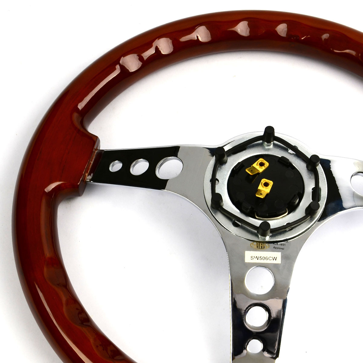 "Steering Wheel Wood 14"" ADR Logano Chrome Spoke"