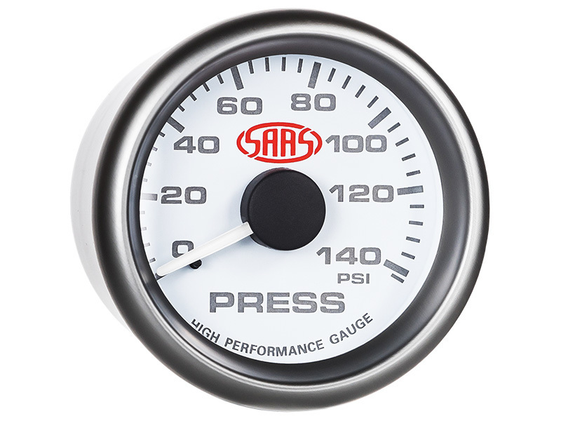 Oil Press Gauge 0-140psi 52mm White Muscle Series