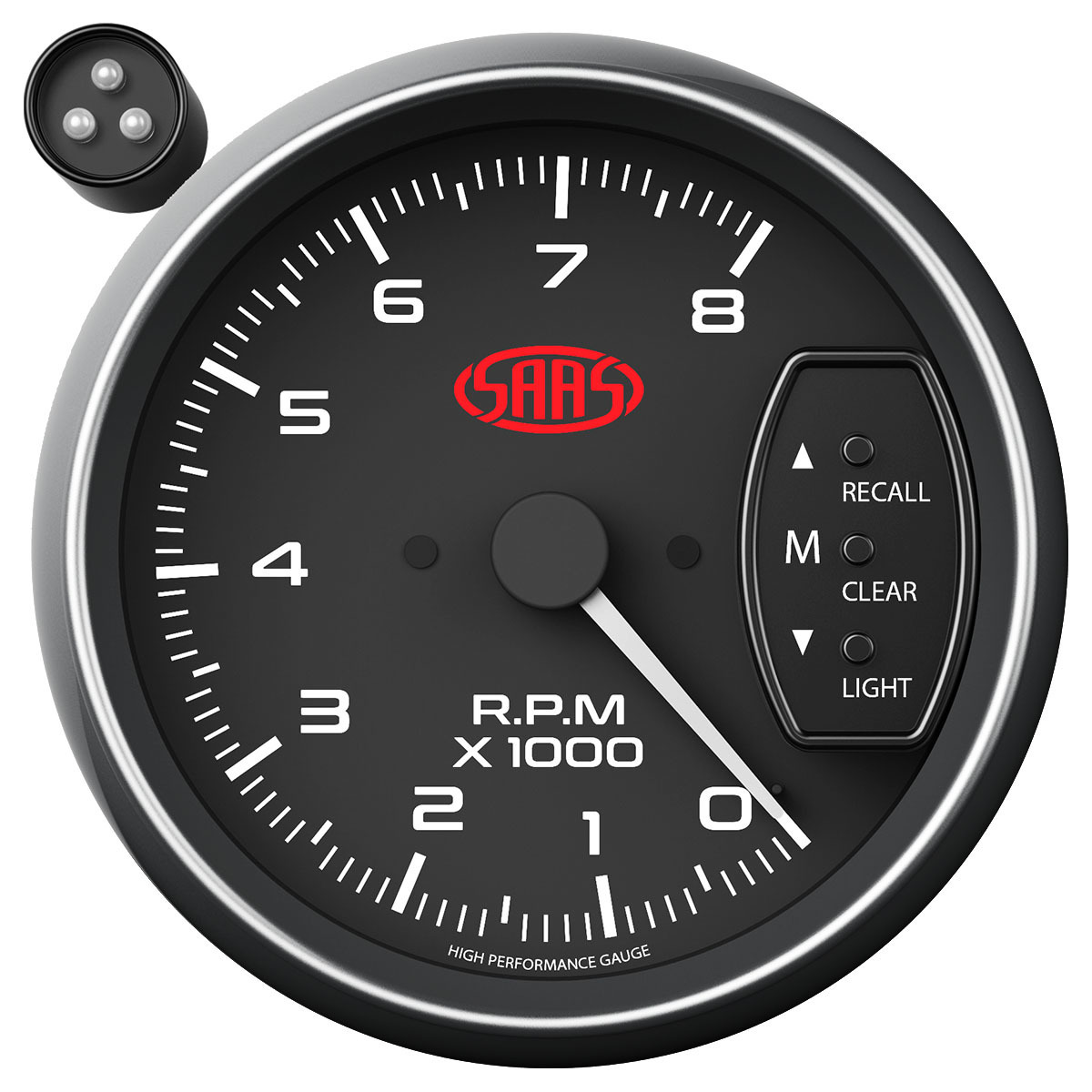 Tachometer 0-8K Shiftlite 3-3/4 Black Muscle Series