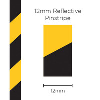 Pinstripe Reflective Black/Yellow 12mm x 1mt