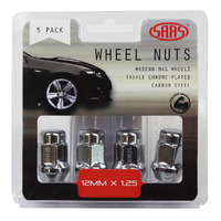 Wheel Nuts Acorn Bulge 12 x 1.25 Chrome 35mm 5Pk