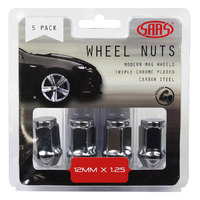 Wheel Nuts Flat Head Bulge 12 x 1.25 Chr 35mm 5Pk