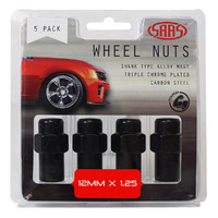 Wheel Nuts Mag 12 x 1.25 Black 43mm 5Pk