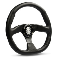 "Steering Wheel Leather 14"" Black Flat Bottom"
