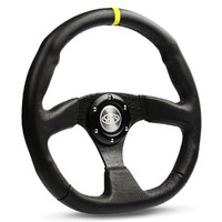 "Steering Wheel Leather 14"" Black Flat Bottom + Indicator"