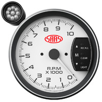 "Tachometer 0-10K Shiftlite 5"" White Muscle Series"