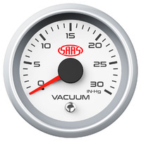 Vacuum Gauge 0-30inHg 52mm White Muscle Series 2