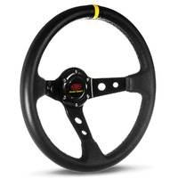 "Steering Wheel Leather 14"" Gt Deep Dish Black With Holes + Indicator"