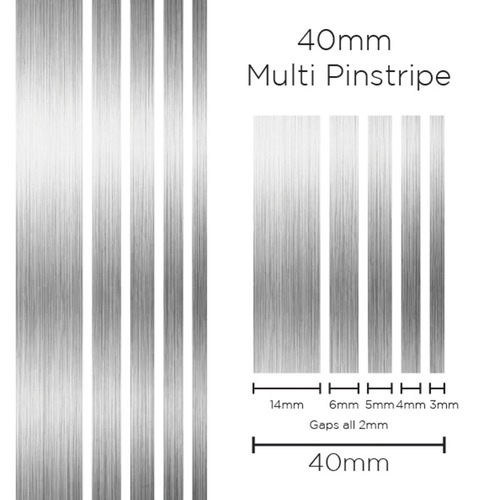 Pinstripe Multi Silver 40mm x 10mt