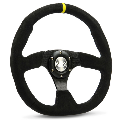 "Steering Wheel Suede 14"" ADR Black Flat Bottom + Indicator"