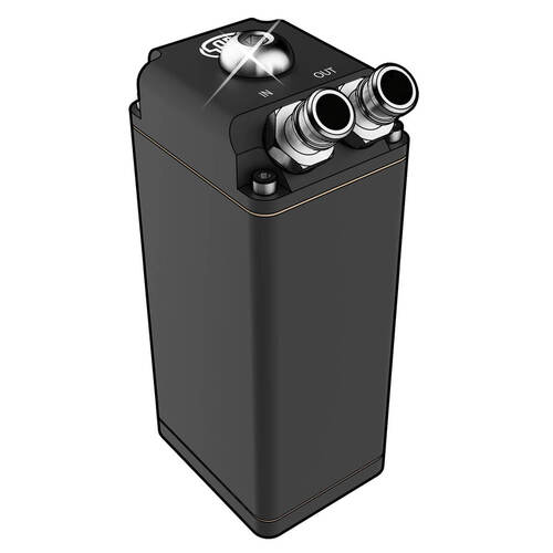 Oil Catch Tank Baffled Rectangle Black Billet 600ml